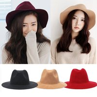 Wholesale 2016 Winter Spring Fashion New Colors Vintage Women Ladies Floppy Wide Brim Flannel Felt Fedora Cloche Hat Cap