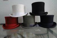 al por mayor negro rojo de la magia-Lana sombreros con estilo Sombrero de copa 100% lana rojo blanco negro azul marino sombrero mágico para hombres mujeres Caballero 57cm 59cm 61cm