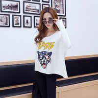 Wholesale INTI Famous Fashion Loose leopard head behind hollow short paragraph sweater