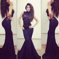 american floor covering - 2016 Summer New European And American Lace Round Neck Sleeveless High Waist Sexy Tight Backless Evening Dresses Floor Length Dress B