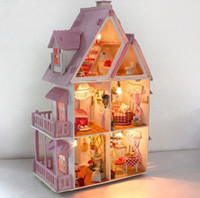 assembled dollhouses - Large Size Dollhouse Assembling DIY Miniature Model Kit Wooden Toy Unique Wood House Gift With Furnitures