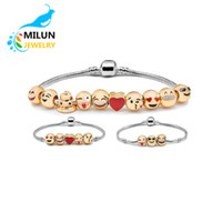 Wholesale Chains Bangles Gold Plated - Free Shipping In Stock 10 pcs Metal Emoji Beads DIY Charms Bracelet 18K Gold Plated Expression Bangle Jewelry Enamel Emoji Faces Bracelet