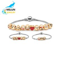 beaded diy - In Stock Metal Emoji Beads DIY Charms Bracelet K Gold Plated Expression Bangle Jewelry Enamel Emoji Faces Bracelet