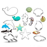 baking shark - DHL Sea Creatures Shape Cookie Cutter Fish Whale Sea Star Shark Sea Shell Cookie Moulds Biscuit Baking Tools Stainless Steel