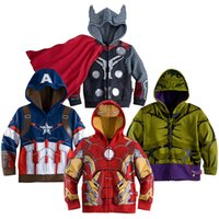 Wholesale Baby Boys Captain America Hoodies Jacket Avengers Hulk thor iron man Superhero cosplay Kids boys hoodie jacket in stock
