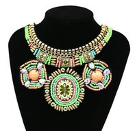 Wholesale Handmade Embroidery Bead Necklace Ethnic Pattern Beadwork Big Statement Necklace African Jewelry Beads Collar Collier For Women
