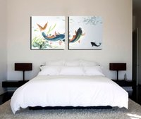 Wholesale Modern Feng Shui Zen Art Painting Koi Fish Giclee Print On Canvas Wall Decor Set20191