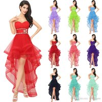 Wholesale 100 Real Image Red Tulle high Low Homecoming Dresses for girls Luxury Crystal open Back Dress Party Evening Gowns Vestido de fiesta AJ014