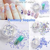 acrylic nail charms - Nails Decorations New Arrive Fantasy Blue Patterns Nail Art Glitter Shapes Sequin D Nail Charms Acrylic Powder Sequins box
