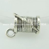 antique thread - 15544 PC Alloy Antique Silver Vintage Thread Spool Needle Sewing Charm Pendant