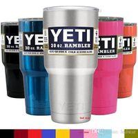 Wholesale Free DHL UPS oz YETI Rambler Tumbler Cup Purple Pink Blue Light Blue Orange Light Green Stainless Steel Tumbler Mug IN STOCK