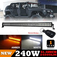 amber flood lights - 42Inch W Amber White Led Work Driving Light Bar SPOT FLOOD Combo Offroad x4Tractor V DC UTE with Remote Wireless US STOCK