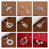 best umbrella - Best gift women s gemstone sterling silver Pendant Necklace GTP36 umbrella heart silver Necklace with chain pieces a mixed style