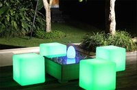 bar table chair - 4pcs NEW CM unbreakable led Furniture chair table Magic lights LED Remote control square cube luminous light for outdoor barstools