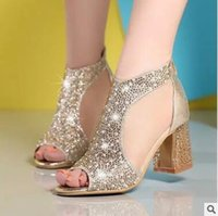 Wholesale Sexy Silver Wedding Sandals - 2016 Rhinestone Peep Toe Sandals Shoes Platform Side Empty Summer New Hot Grenadine Chunky High Heel Women Sexy Pump