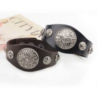 antique military buttons - Antique Silver Dragon Head Bracelet Genuine Leather Adjustable Snap Button Bracelet Cheap bracelet flash High Quality bracelet military