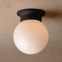 Wholesale White Black Ball Ceiling Lamp Glass Entranceway Balcony Ceiling Light Corridor Lighting Use E27 Bulb Stair Cottage Country