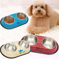 automatic pet feeder stainless steel - Hot Sale Lovely Style Double Stainless Steel Dog Cat Puppy Pet Bowls Anti slip Food Water Feeding Dish