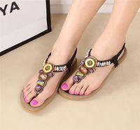 beaded thong sandals - Hanky Set Brand New Summer Bohemian Beaded Flat Women Beach Thong Sandals Soft Synthetic Leather Walking Sandals Women Flip Flops Shoes