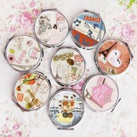 Wholesale 1pcs Portable Lovely Chic Romantic Round Shape Pocket Mirror Makeup Cosmetic Tool Gift Colorful Compact Mirror Women Girl