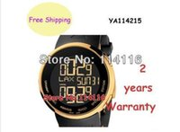 Wholesale New Special Edition Digital Analogue Gold Case Black Rubber quartz Men s Watch YA114215 YA Ditital Wristwatch