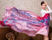 Wholesale Scarf China Silk Female fashion elegant shawl print colourous wrap satin girls autumn seabeach scarves size CM
