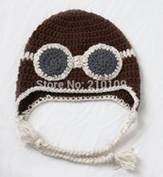 air force photos - New Handmade Crocheted Winter Aviator Goggles Hats Air Force Pilot Caps Baby Photo Prop Child Halloween Gift Funny Party Beanies