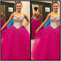 Wholesale Sparkly Fuchsia Quinceanera Dresses Ball Gowns Crystal Beaded Sweetheart Tulle Sweet Debutante Dress Vestidos De Anos