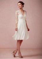 Cheap Amazing Tulle & Chiffon & Stretch Charmeuse Satin A-line V-neck Empire Waist Short Wedding Dress