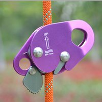 Wholesale Outdoor Aluminum Rock Climbing Gear ROPE GEAR Rope Grab for Mountaineering Fire Rescue Aloft Work Purple Color