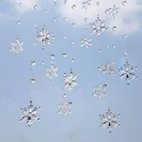 Wholesale 1M Beautiful Acrylic Crystal Snowflake Bead Garland Wedding Decoration Curtain