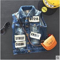 Wholesale Sleeveless Jacket For Boys - Foreign trade spring autumn casual jean denim waistcoats vests jacket baby clothing for boys sleeveless no fade 2016
