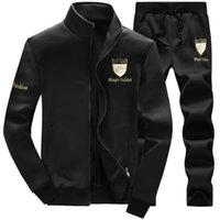 Wholesale 2016 New Men s Sport Suit Set Sweatshirt Autumn Winter Long sleeved Running Sets Sudaderas Plus size Young Student s suit M XXXL Free ship