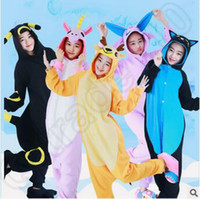 Wholesale 12 Designs Hot Kawaii Poke Espeon Pikachu Stitch Minions Nightwear Kigurumi Pajamas Cosplay Costume Adult Cartoon Sleepwear LJJC4707