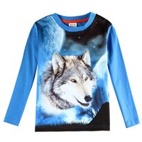 best universe - 2016 Best Quality Fashion Boys Clothes T shirts Universe Wolf Blue Round Neck Casual Long Sleeve Cotton