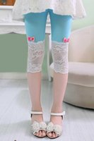 Wholesale Modal lace Children stretch cropped pants super tight leggings to rest for little girl