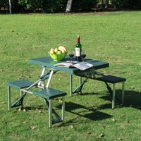 Wholesale Outdoor Portable Folding Camping Picnic Table With Case Seats Deep Green