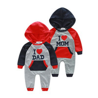 Wholesale Hot retail new autumn children cltohing baby Love Mom and Love Dad hooded long sleeved leotard Romper climbing clothes