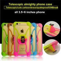 achat en gros de téléphone couvre les ours-Universal Silicone Phone Case 3D Cartoon Stitch Minnie kitty Bear Frame Bumper pour samsung galaxy s7 Housse pour tout téléphone 3,5 ~ 6 pouces