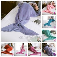 Wholesale Adult Handmade Mermaid Tail Blankets Crochet Mermaid Blankets Mermaid Tail Sleeping Bags Cocoon Mattress Knit Blankets christmas gifts100015