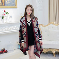 acrylic cardigan - Women s Winter Fashion Pashmina Cashmere Shawl Wraps Blanket Scarf Stole Poncho Capes Cloak Cardigans Oversized Coat Ladies