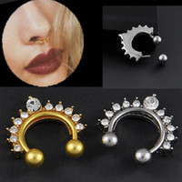 Wholesale 1pc Fake Clip On Non Piercing Rhinestone Septum Nose Ring Faux Click C00066 SMAD