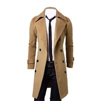 Wholesale Fall Men s Winter Long Double Breasted Overcoat Camel Size US M CN XL