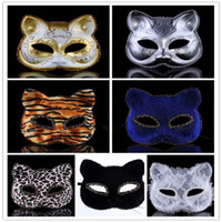 animals party supplies - Halloween Plastic Masks for Adult Fashion Classic Cat Face Tiger Leopard PVC Mask Half Face Lady Masquerade Cosplay Party Supplies colors
