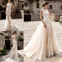 Wholesale Stunning Lace Overskirts Wedding Dresses Sheer Bateau Neck Cap Sleeve Lace Appliques Tulle Court Train Mermaid Bridal Gowns