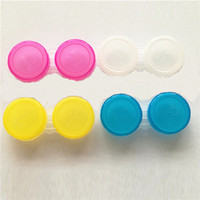 Wholesale 500sets Colourful Contact Lens Box Holder Container Case Soak Soaking Storage Eye Care Kit Double Case Lens Cases F710