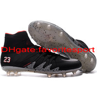 Wholesale 2016 Cheap oriGINal men high Tops football boots Mercurial soccer shoes leather NeyMAr NJR X HyperVENom PhaNTOm II FG ProXImo Soccer cleats