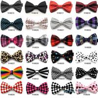 Wholesale grid dots lepord strip Fashion bowties men s ties men s bow ties men bow tie pure color women lady bowtie