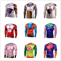Wholesale New popular cartoon dragonball z men and women long sleeve T shirt compression tight breathable D printing T shirt