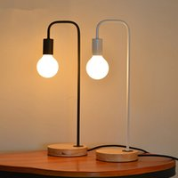Wholesale Nordic Wood Iron Table Lamp Bedroom Modern Led Desk Light Study Reading Bedside Home Lamps Fixture New Design Abajur TLL